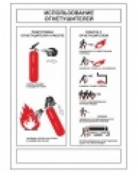 """Самоклеющийся плакат """"Использование огнетушителей"""""""