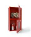 Шкаф пожарного крана ШПК-320-12 НОК для 2-х рукавов и 2-х огнетушителей (навесной, открытый, красный, 540x1300х230мм.)